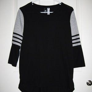 adidas 3/4 Sleeve Black & Gray Raglan Tee Small